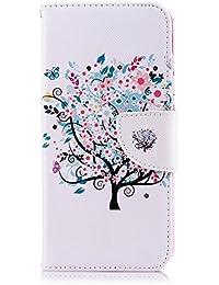 Tophung Funda de Piel sintética para Samsung Galaxy J6, a Prueba de Golpes, con función Atril, Tarjetero y Ranura para identificación, con Tapa, para Samsung Galaxy J6, Flower Tree