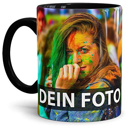 uell gestalten/Personalisierbar mit eigenem Foto Bedrucken/Fototasse/Motivtasse/Werbetasse/Firmentasse mit Logo/Innen & Henkel Schwarz - XXL Druck ()
