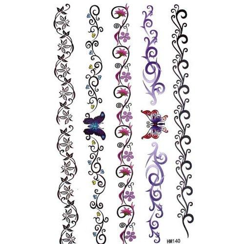 Die neuesten personalisierte temporäre Tattoos Schmetterling Blume Reben totem mit One Piece MicroDeal® Trademark Reinigungstuch Pro - Für Halloween Kitty Make-up