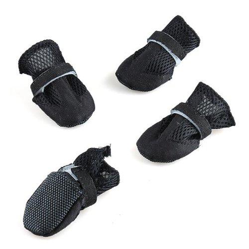 hundeinfo24.de fitTek® 4x XL Hundeschuhe Boots Schuhe für Hund Pfotenschutz Netz Pfotenpflege Schwarz