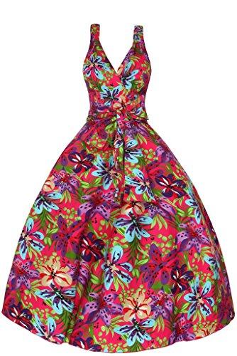 Femmes Années 1950 Mi Cravate Rétro Vintage Tropical Floral Été Swing Robe Soirée Rose