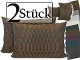 Doppelpack zum Sparpreis - Kissenhülle Akira – moderne Wohndekoration in angesagter Origami-Falt-Optik – hochwertiger Dekostoff mit dezentem Glanz - in 10 top-aktuellen Farben und 3 Größen erhältlich, 40 x 60 cm, braun
