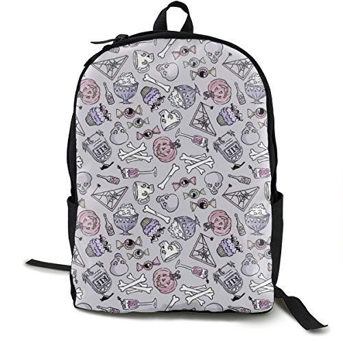 Halloween Jumble -Pastel Adult Premium Travel Backpack, Water-Resistant College School Bookbag, Sport Daypack, Outdoor Rucksack, Laptop Bag for Men&Women