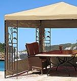 Grasekamp 2 Seitenteile mit PVC Fenster zu Blätter Pavillon 3x3m Sand