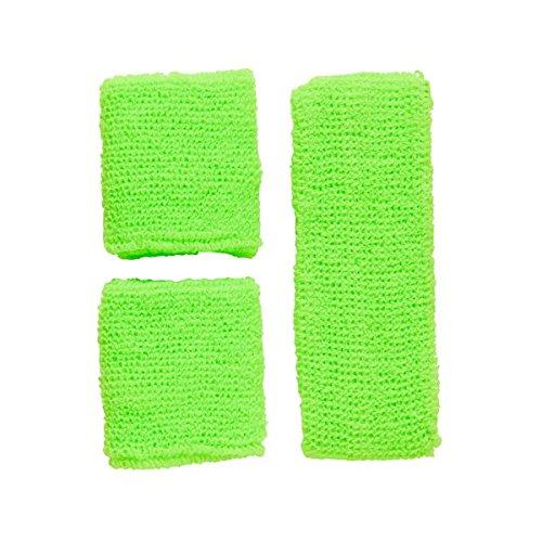 Schweißbänder Neon Stirnband Armbänder wrist wristband Schweissbänder Sport 80er, Farbe:Grün