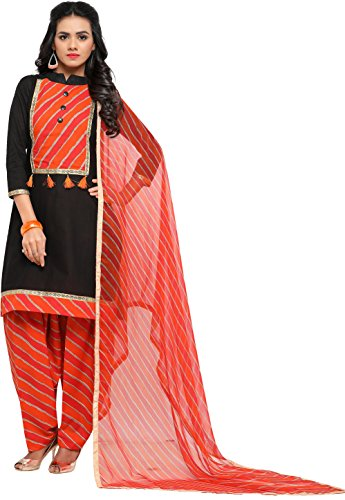 EthnicJunction Women's Cotton Patiala Style Unstitched Dress Material (EJ1180-88009_Black)