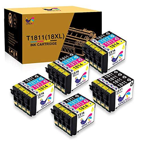 ONLYU 20pack 18XL T1811 T1812 T1813 T1814 Compatibile per Epson Expression XP-30 XP-33 XP-102 XP-202 XP-205 XP-212 XP-215 XP-225 XP-302 XP-305 XP-312 XP-315 XP-322 XP-325 XP-402 XP-405 XP-412 XP-415