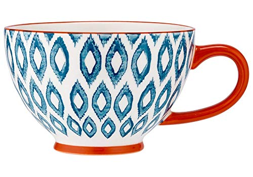 Ladelle Mosaic Paited - Ikat, Fine Bone China Cup Mug Porzellantasse Tasse Becher tazza taza 12,3x8cm, Gift box, best quality, LADELLE, L61408 Bone China Cup 8