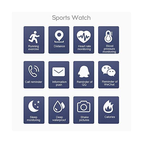 Smart Fitness Tracker Watch, IP67 Impermeable Reloj Inteligente con Contador de Pasos Monitor de sueño, podómetro Reloj… 5