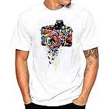 QUINTRA 2018 Männer Druck Tees Shirt Kurzarm T Shirt Bluse (Weiß B, L)