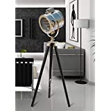 The Brighter Side, Antique Olga Black Tripod Lamp With Chrome Finish Head