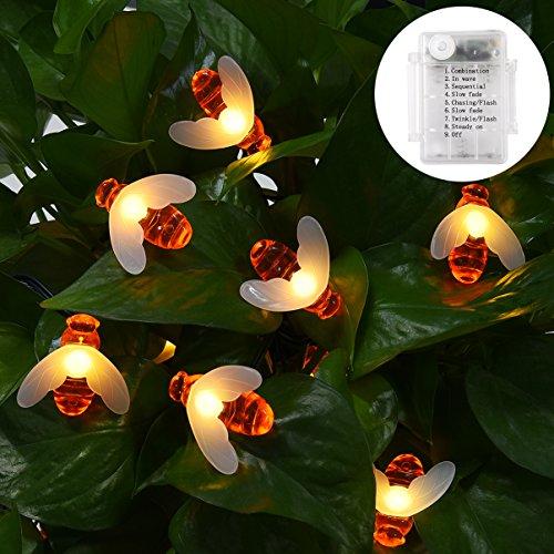 LEDGLE 30 LED Lichterketten Bienen Batteriebetrieben 6M Outdoor Lichterkette IP65 Wasserdichte mit 8 Leuchtmodi, Perfekte Dekoration für Garten, Party, Außen, Patio, Hochzeit, Weihnachten-Warmweiß