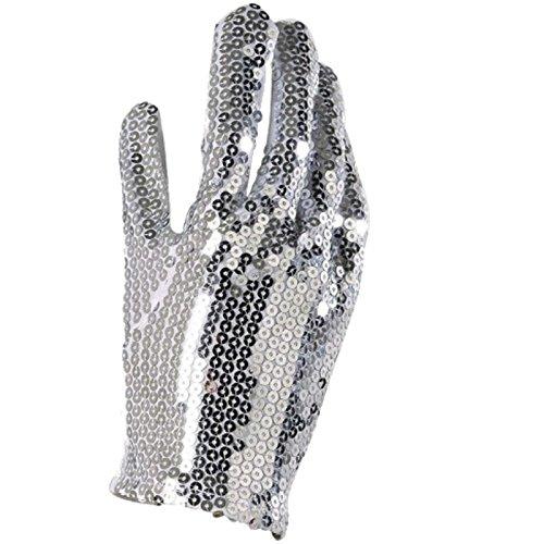 Jackson Kostüm Michael Weiße - Paillettenhandschuh für Michael Jackson Kostüme Handschuh silberne Pailletten