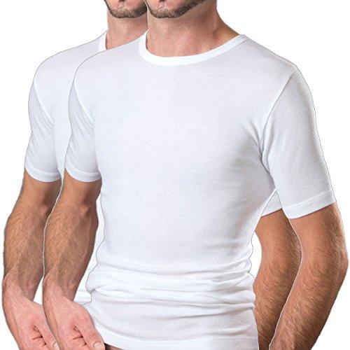 HERMKO 16800 2er Pack Herren Business Kurzarm Unterhemd angenehm weich Dank Modal, Farbe:weiß, Größe:D 5 = EU M - Modal-unterhemd