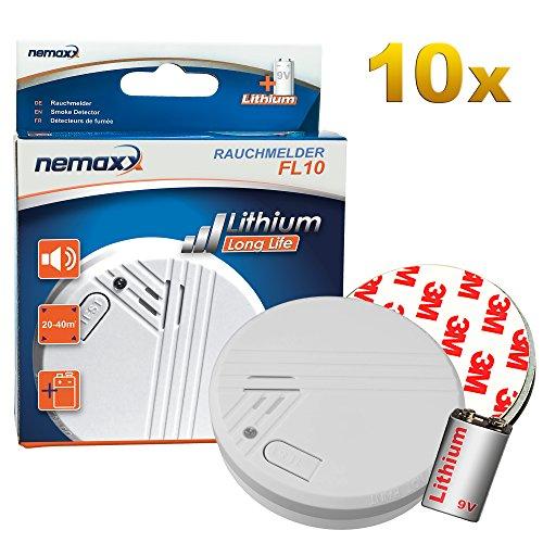 10x Nemaxx FL10 Rauchmelder - hochwertiger Rauchwarnmelder inklusive 10 Jahres Lithium Batterie nach EN 14604 mit sensibler fotoelektrischer Technologie + 10x Nemaxx Magnethalterung