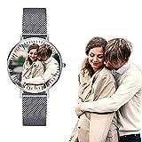 Edelstahl-schlanke Herrenuhr mit Personalisierte Foto und Gravurtext auf der Rückseite der Armbanduhr Quarz Silber Gesicht
