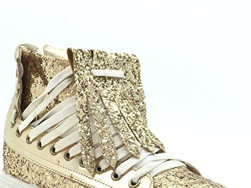 CHIC NANA . Chaussure Mode Baskets compensée cheville femme strass brillant. Or
