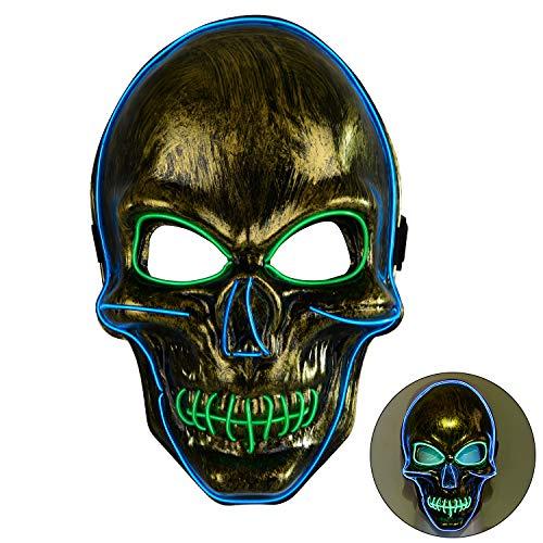 Blitz Der Kostüm Party - Charlemain LED Maske, Halloween Maske, Totenkopfmaske, harmlose LED Maske mit 3 Blitzmodi für Halloween, Fasching, Karneval, Party, Kostüm Cosplay, Halloween Kostürm Zubehörer für Erwachsene