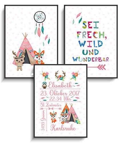 Personalisierte Geschenke DIN A4 Prints 3er Set Bilder Geburt Stammes-Tiere 5 ohne Rahmen Geschenkidee Mitbringsel Babyparty Geburtstagsgeschenk - Set Stamm