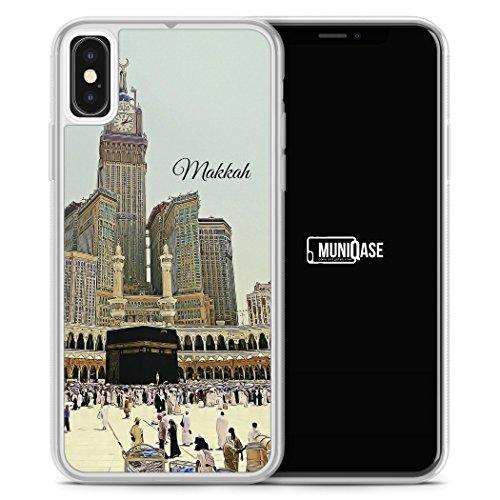 Panorama Makkah Mekka - iPhone X Hülle SILIKON FROSTED - Motiv Design Islam Muslimisch Schön - Handyhülle Schutzhülle Cover Transparent Durchsichtig Case Schale