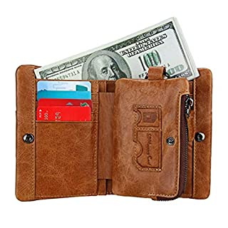 Bifold Amcor Love Leather Wallet Purse Credit Cards with RFID Blocking Brown/C