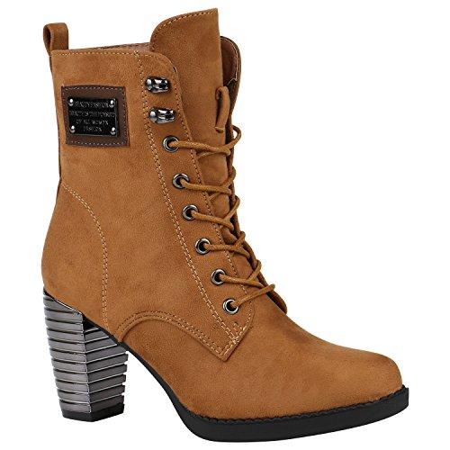 Damen Stiefeletten Stiefel Lack Schuhe Metallic Schnürstiefeletten 151588 Hellbraun Velours 38 | Flandell® (Metallic-velour)