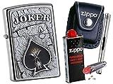 Zippo Joker Skull Emblem + Zippo POUCH mit Zippo Zubehör und L.B Chrome Stabfeuerzeug (mit CLIP Black Pouch)
