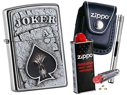 Zippo Joker Skull Emblem + Zippo POUCH mit Zippo Zubehör und L.B Chrome Stabfeuerzeug (mit CLIP Black Pouch) (Black Chrome Zippo)