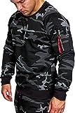 Amaci&Sons Herren Cargo Pullover Sweatshirt Hoodie Sweater Camouflage 4006 Camouflage Schwarz XXL