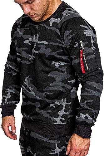 Amaci&Sons Herren Cargo Pullover Sweatshirt Hoodie Sweater Camouflage 4006 Camouflage Schwarz L (Pullover Männer)