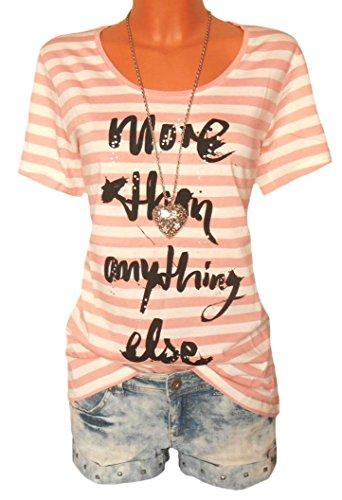 Tom Tailor Damen-Shirt Shirt mit Aufdruck Mehrfarbig Größe L