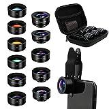 AFAITH Smartphone 11 in 1 Lenti Kit, Universale 2X Teleobiettivo Zoom, Grandangolare, 20x Macro, Fisheye, Caleidoscopio/CPL/Starburst/4 filtri di Colore UV per Fotocamera
