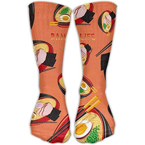 Tall Boot Socken (ZENGYAN Ramen Life Womens Novelty Socks Tall Boot Casual Socks Comfort Athletic Socks 50cm)