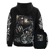 Biker Reaper Motorbikes Skulls Wild Hooded Sweatshirt Hoodie