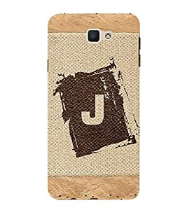 FIOBS alphabet J brownish colour salwood corners arial bold font Designer Back Case Cover for Samsung Galaxy On Nxt (2016)