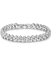 OPK Jewellry Round 0.58ct. Classic & Graceful Cubic Zirconia CZ Tennis Bracelet For Women 7.2 inch Length