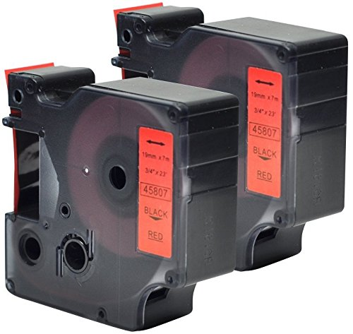 2x Schriftband-Kassetten D1 45807 S0720870 schwarz auf rot 19mm x 7m kompatibel für DYMO LabelManager LM 160 210D 220P 260P 280 360D 420P 450D 500TS PnP MobileLabeler LabelPoint LabelWriter LW 450 Duo
