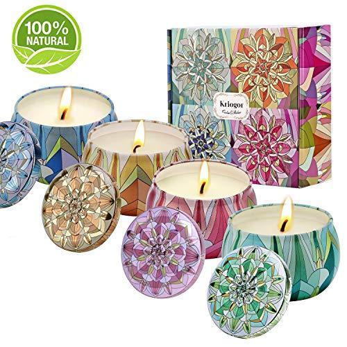 Scheda dettagliata Kriogor Set di 4 Candela Profumata, Cera di Soia Naturale Candele Candle Confezioni Regalo per Aromaterapia, Massaggio, Alleviare Lo Stress