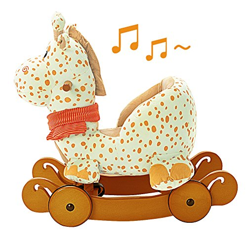 Labebe Modern Plush Rocking Horse with Padded Animal for Little Toddlers Kids Baby Boys & Girls (6-36 Months), Indoor Ride On Toys Rockers with Wheels and Sound Paper – Cute Stuffed Yellow Giraffe