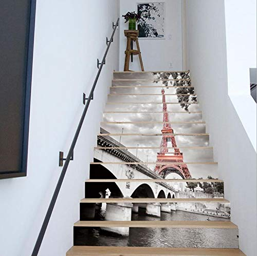 Stairs stickers waterproof self-adhesive paper 3D wall stickers DIY painting home Eiffel Tower (Schneiden Eiffel Tower)