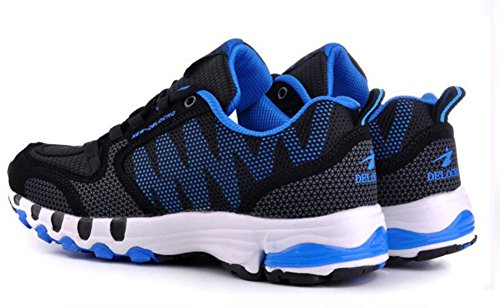 Wealsex Sneakers Basses Chaussures de Course Running Compétition Sport Fitness Entraînement Multisport Outdoor Femme Homme Unisexe noir et bleu