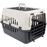 Homdox Transportbox Hunde Katzen Hundehütte Transportkäfig Hundebox Reisekäfig für Haustiere tragbar mit 2 Türen 47 x 32 x 31cm