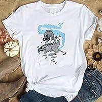 LuoMei Camiseta Estampada Blanca Jersey de Manga Corta con Cuello Redondo para Mujer Camisa con Cuello Redondo de Algodón PuroComo se muestra, XXL