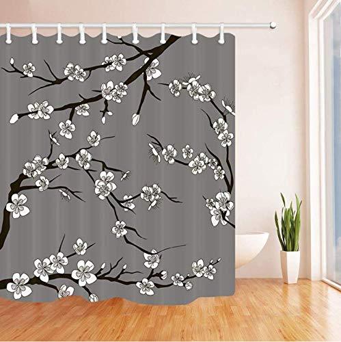 Hhyspa tenda da bagno giapponese natura sakura cherry branch con fiori che sbocciano per la primavera poliestere impermeabile in tessuto poliestere con 12 ganci 71x71 inch