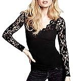 JUTOO Frauen Solides V-Ausschnitt T-Shirt Pullover Tops Bluse(Schwarz,EU:40/CN:M)
