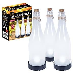 Lampade GardenKraft 24300 Hanging solare a forma di bottiglia caldo-White LED (Set di 3)