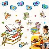 CXXZICASD Kindergarten Escuela Primaria Aula Libro Esquina Biblioteca Sala de Lectura Pegatinas de Pared niños Leyendo aprendiendo Leyendo Pegatinas Pegatinas