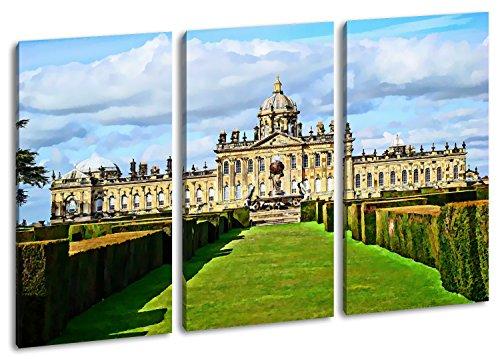 Majestätisches Schloss Howard in England, North Yorkshire Format: 3-teilig 120x80 Effekt: Zeichnung...