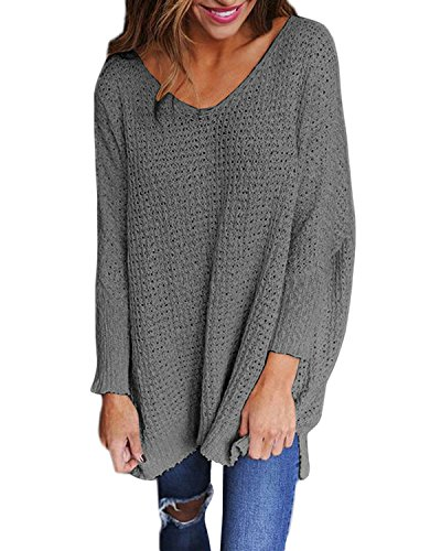 StyleDome Sexy Women's Oversized Jumper Shirt Dress Long Sleeve Tops Knitted Baggy Plus Size Grey M