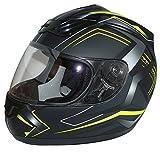 protectWEAR Motorradhelm H510 Arrow Schwarz Matt/Neon - Gelb, Größe XL